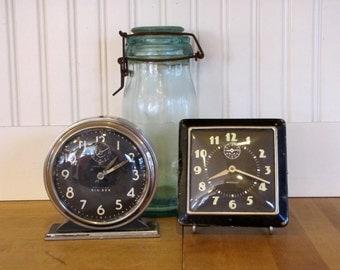 Two 1930's Westclox Alarm Clocks, Not Working, Clock Parts, Westclox, Alarm Clock, Big Ben, 1940's, 1940's, Chrome, Black, Metal, Steampunk