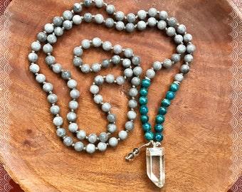 Apatite & Jade Mala Necklace, Gemstone Mala Beads, Intrinsic Journeys Mala, Sterling Silver Quartz Point