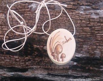 Mushrooms Cedar Pendant Necklace/Jewellery