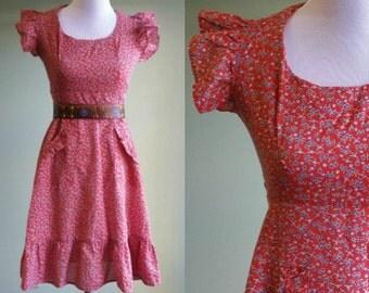 1970s Paper Moon Floral Dress - Flutter Sleeve - Calico Print - Hippie Festival Dress -