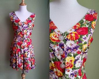 1990s Floral Printed Romper - Medium / Large