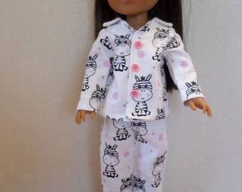 Zebra baby flannel pajamas American made to fit 14  1/2 inch Wellie Wisher Girl dolls