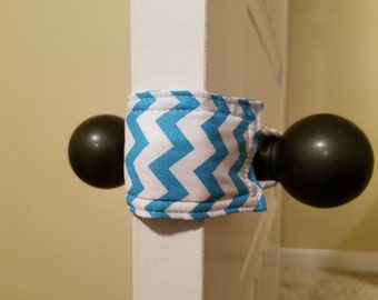 Blue Chevron (3 PACK) handmade nursery gift, baby room decor, door knob stopper, cotton, padded, door cushion, door guard LATCHY CATCHY