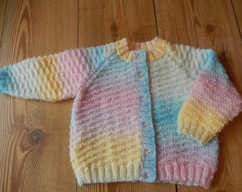 cute hand knitted  baby girl cardigan/sweater pink,lemon, blue and green mix hand made 12-18 month