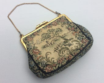 Vintage 40s 50s La Marquise French Tapestry Handbag Evening Purse Gold Chain Handle Kiss Locking Clasp
