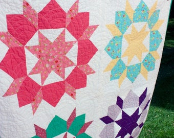Baby Quilt Throw Sized Vintage Modern Girl Pink Purple Green Blue Nap Mat  Ready to Ship