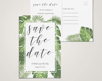 Tropical elegant save the idea postcard | INSTANT DOWNLOAD | save the date template | PDF editable file