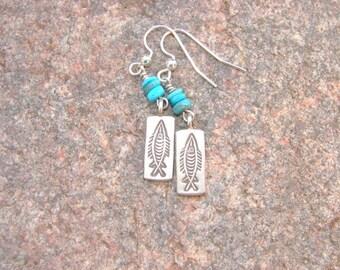 Hill Tribe Sterling Silver Earrings, Fish Imprint Earrings, Turquoise Earrings, Southwest Style Earrings, Tribal Style Earring