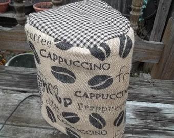 Coffee Maker Cover Burlap Homespun Black Tan Cappuccino Fraffuccino Latte Quilted