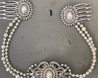Hair chain - Bridal headpiece  - bridal headpiece vintage  - Gatsby headdress - Bridal hair - 1920s dress