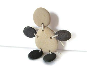 Pebble People, Mr. Pebbles, Muddy Buddy, Pebble Brooch, Pebble Pin, Black Stones, Lake Michigan Stones, Pebble Figure, Handmade, Hand Craft