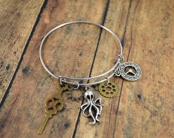 Steampunk Bangle Bracelet ~ Charm Bracelet ~ Octopus ~ Gears ~ Clock Face ~ Clock Hand ~ Steampunk Themed Bangle Bracelet