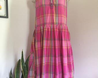 Vintage Pink Madras Tank Cotton Sundress S M L