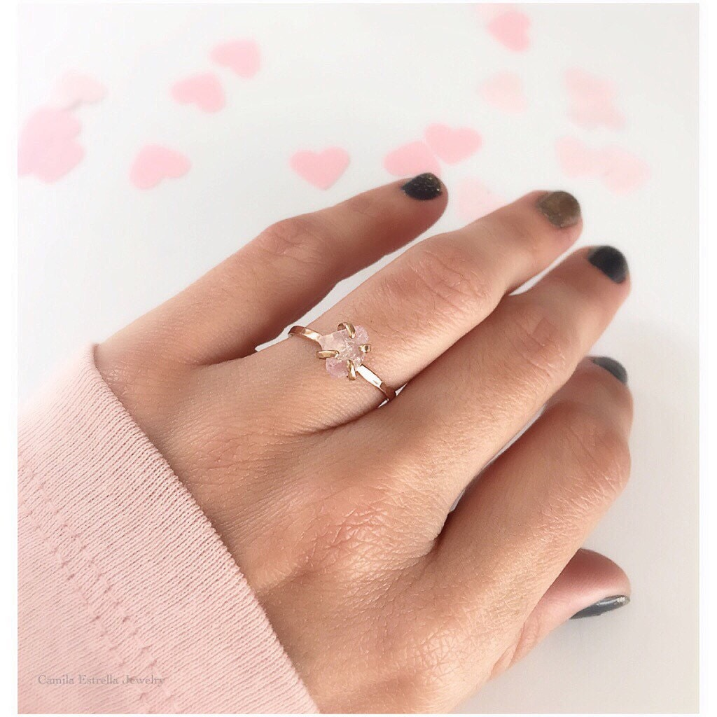 Rose quartz ring promise ring rose quartz engagement ring for Quartz wedding rings