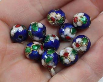 vintage blue cloisonne beads