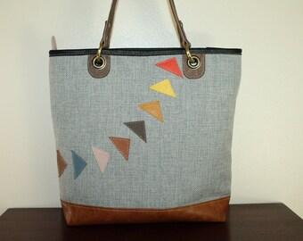 Arrow Woven Zipper Tote BAg Everyday Shoulder Bag