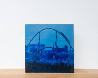 "Roller Coaster, Photo Art Block, 'Joy Ride #7' Limited Edition Image Transfer on 12""x12"" Wood Panel by Patrick Lajoie, amusement park"