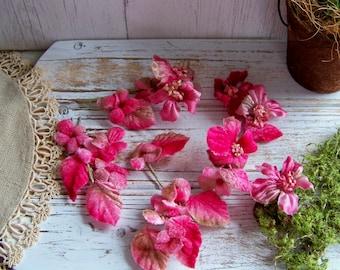 Vintage Pink Millinery Flower Assortment, Velvet Millinery Flowers, Old Hat Flowers, Premium Hat Flowers, Vintage Hat Blooms, Pink Millinery