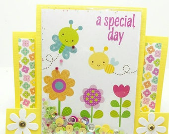 Center Step Pop up Card, gift card holder, butterfly and honey bee, garden theme, Happy Birthday gift card holder