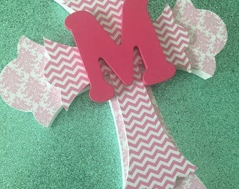Girls Baptism Gift, First Communion Gift, Personalized Cross, Personalized Gift, Pink Chevron, Pink Damask