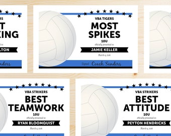 Editable Volleyball Award Certificates - INSTANT DOWNLOAD PRINTABLE - Black and Blue