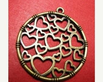 2pc antique bronze metal round heart pendant-4854