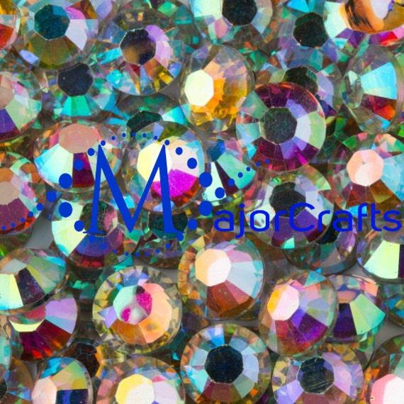 Crystal AB Flat Back Round Resin Rhinestones Embellishment Gems C33