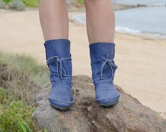 blue moccasins boots