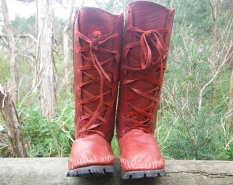 printed red leather moccasin boots