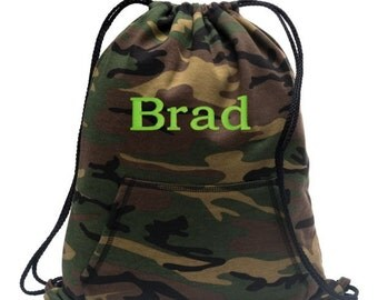 Cinch Pack, Drawstring Bag, Personalized Cinch Bags, Sweatshirt Drawstring Bag, Drawstring Backpack, Camo Bag, Personalized Gifts, BG614