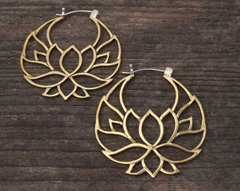 Large hoop earrings, flower hoop earrings, tribal hoop earrings, Lotus Flower Hoop Earrings - Shanti Hoops - Brass w/ silver posts