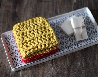 Modern Crochet Dishcloths. House Decor for Kitchens, Red and Mustard Yellow Dish Clothes. Wedding Gift, New home Gift