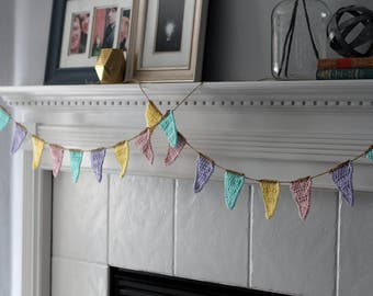 Pennant Flag Bunting Garland, Set of 2 Spring Banners. Rustic Spring Photography Backdrop, Colorful Party Decor, Garden Party Garland.