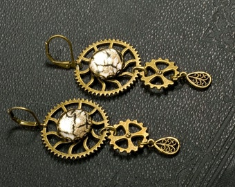 Earrings, steampunk, gear, wedding