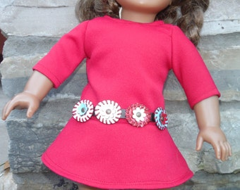 Red dress with sewn in belt for 18 inch dolls by Project Funway on Etsy