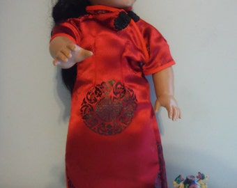 Red and black brocade Asian Chinese dress Qipoa or Cheongsam Kimono for popular 18 inch  dolls by Project funway on etsy