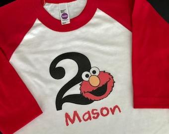 Personalized Elmo Birthday Raglan Shirt - Elmo Birthday Shirt