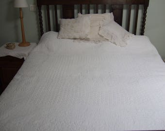 Antique French Quilt/ Boutis hand stitched, white on white. Provence.  Bedding . Throw.  Double sided.