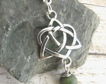 Irish Connemara Marble and Trinity Knot Necklace