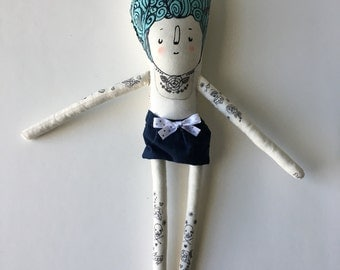 My Little Hipster Girlfriend Blue Haired Plush Art Doll with Hand painted Tattoos - Ready to Ship softie - children's toy and soft sculpture