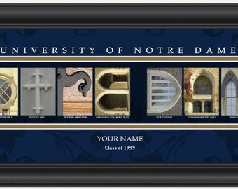 PERSONALIZED & FRAMED NCAA Notre Dame Fighting Irish Letter Art Sports Prints