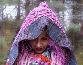 Pink crochet hat Knit hood Woman crocheted hat with recycled sweaters Ready to ship Knitted hat in pink Pixie hood Made in Quebec