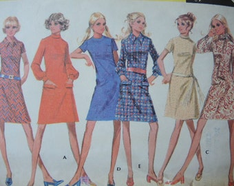 vintage 1970s McCalls sewing pattern 2549 misses dress in six versions  size 12