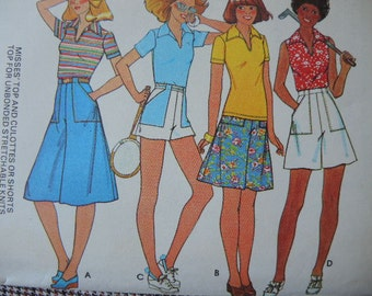 vintage 1970s sewing pattern McCalls 5511 misses top and culottes or shorts size 8