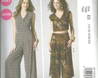 McCalls 7133 new uncut 14-22 womans top and wide leg pants