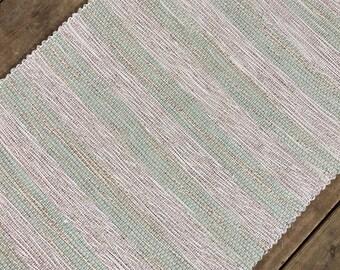 2x4 Rag Rug / Tan, Green Floral Stripes