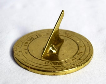 Vintage brass sundial paperweight…Virginia Metalcrafters.