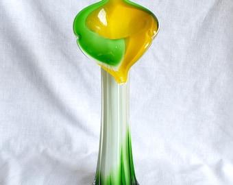 Vintage Italian vase...Murano glass vase...blown glass vase...calla lily vase.