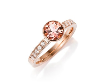size 5.75 to 6, Salmon pink tourmaline solitaire engagement ring, rose gold, diamond engagement, pink, bezel solitaire, red, unique rings