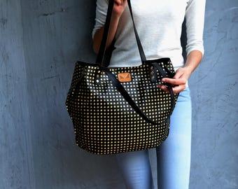 Black leather tote bag / Black shoulder bag / Black leather satchel / Black and gold tote